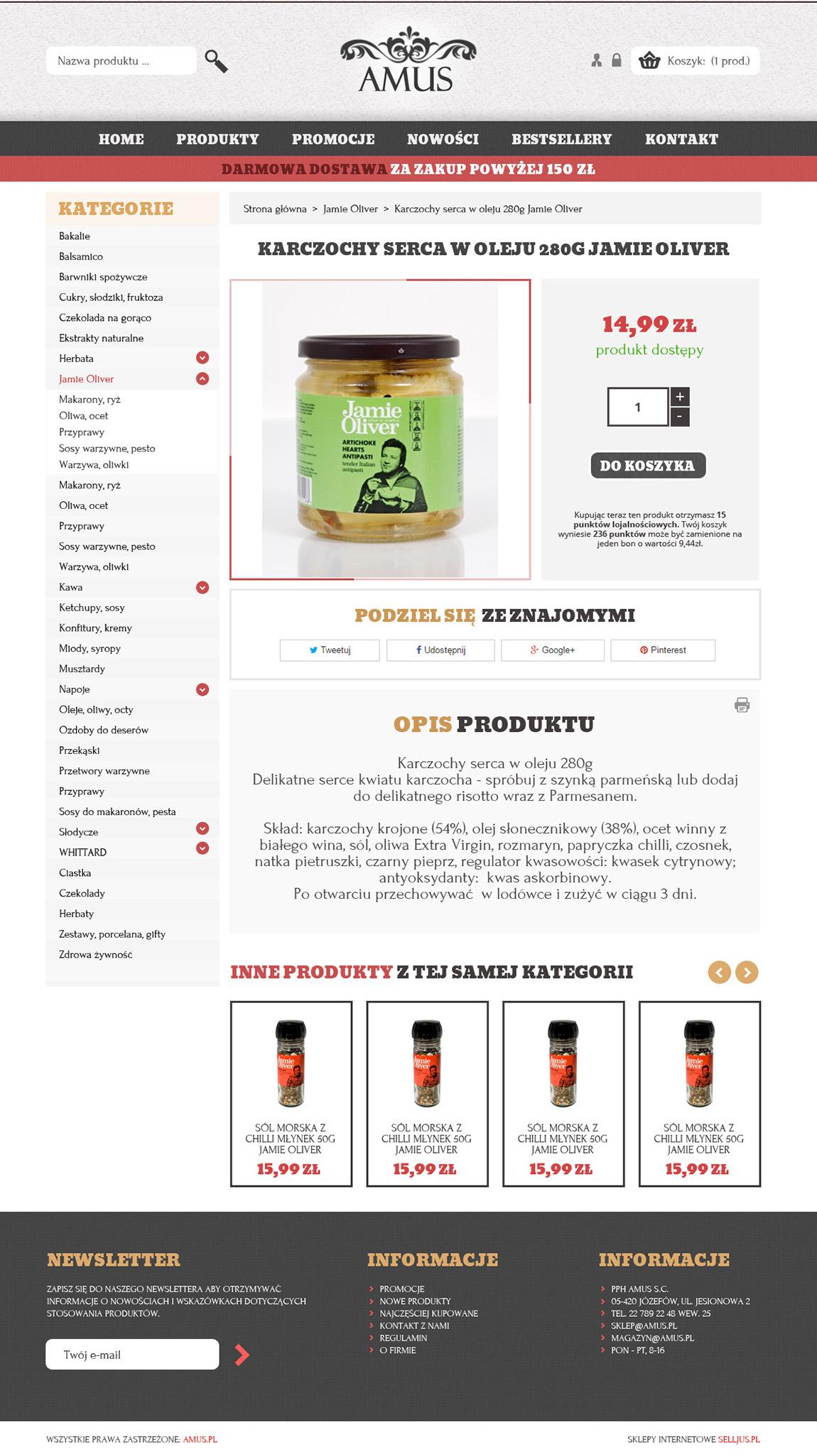 Prezentacja strony produktu sklepu Amus.