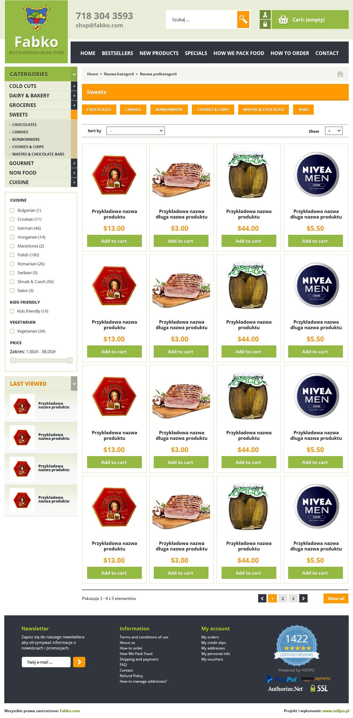 Widok listy produktów, kategorii sklepu Fabko.